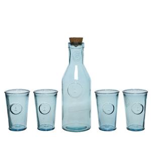 Set pour boissons en verre bleu H34 cm 700010