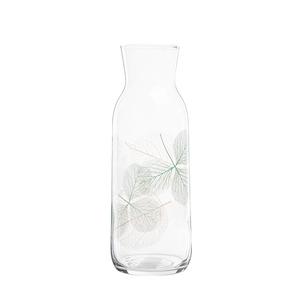 Carafe Gaia en verre transparent motif feuillage vert 1,21 L 700332