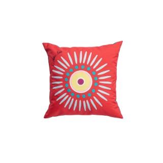 Coussin déco carré rouge au soleil 40 x 40 x 10 cm 700588