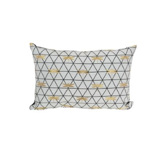 Coussin déco rectangulaire en jacquard blanc libellule 50 x 30 x 10 cm 700628