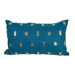 Coussin déco rectangulaire bleu scarabées 50 x 30 x 10 cm 700632