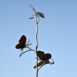 Tuteur métal 3 papillons teinte naturelle 700894