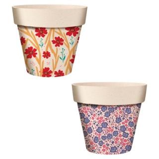 Cache-pot en fibre de bambou décor fleurs Ø 9,5 cm 704978