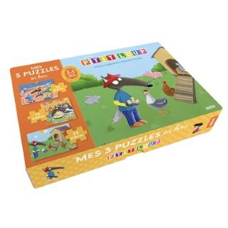 Mes 3 puzzles en bois p'tit loup. Editions Auzou 705471