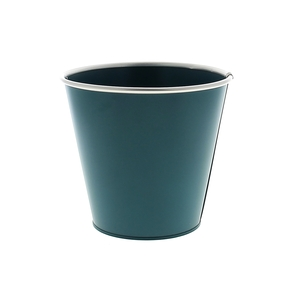Cache pot Zinc bleu mat  cercle Ø 16,7 x H 15,2 cm 707800
