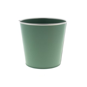 Cache pot Zinc vert menthe mat cercle Ø 18,7 x H 17,5 cm 707805
