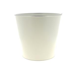Cache pot Zinc blanc mat cercle Ø 27,2 x H 25,5 cm 707814