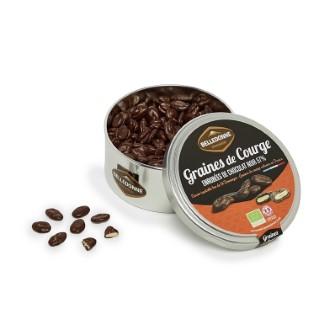 Graines de courge au chocolat noir 57 % bio - boite de 200 g 714552