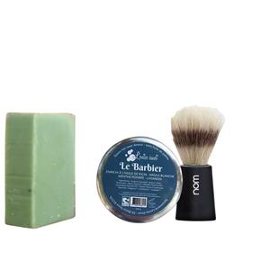"""Coffret """"Apprenti barbier"""" avec savon à barbe, pinceau et savon solide à l'huile de chanvre 716066"""