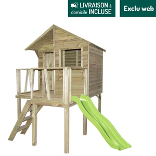 Maisonnette en bois Victor sur pilotis 250x159,4x252 cm 716415
