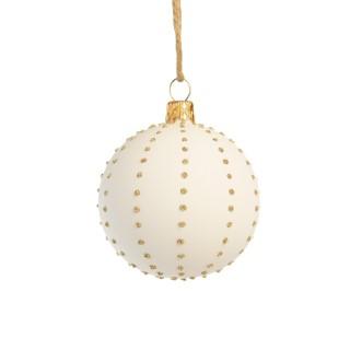 Boule décorative graphique blanche en verre Ø7 cm 720944