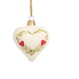 Boule cœur tradi en verre blanc et rouge 721047