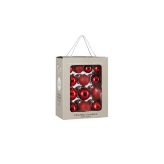 Pack boules rouges en verre x26 Ø7 cm 722489