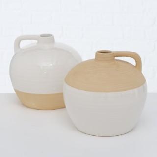 Vase Marila blanc et beige en grès Ø22x21 cm 723752