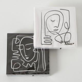 Serviettes Pica x 20 noir et blanc 17x17 cm 723760