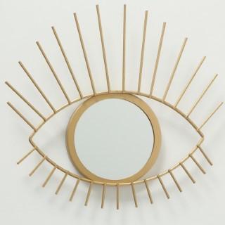 Miroir œil Auge jaune or en métal 31x27 cm 723770
