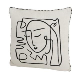 Coussin en coton Pica blanc 45x45 cm 723778