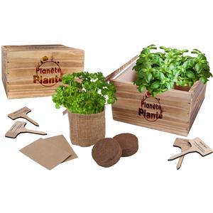 Caisse en bois carré avec 4 sacs de jute avec doublure 18x18x10,5 cm 5 ans et plus 725344