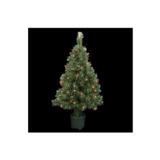 Sapin de Noël artificiel vert lumineux rouge 120 cm 72962