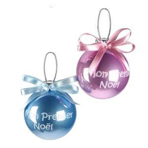 Boule Mon Premier Noël Plastique Ø65 mm Rose Coin des Enfants 523480