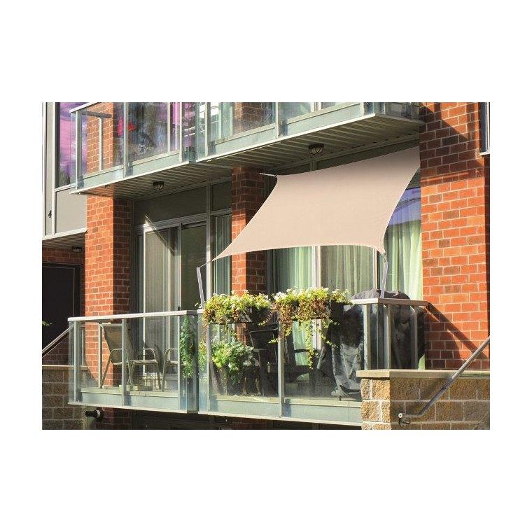 Voile d'ombrage rectangulaire beige spéciale balcon 2,0 x 1,4 m 700542