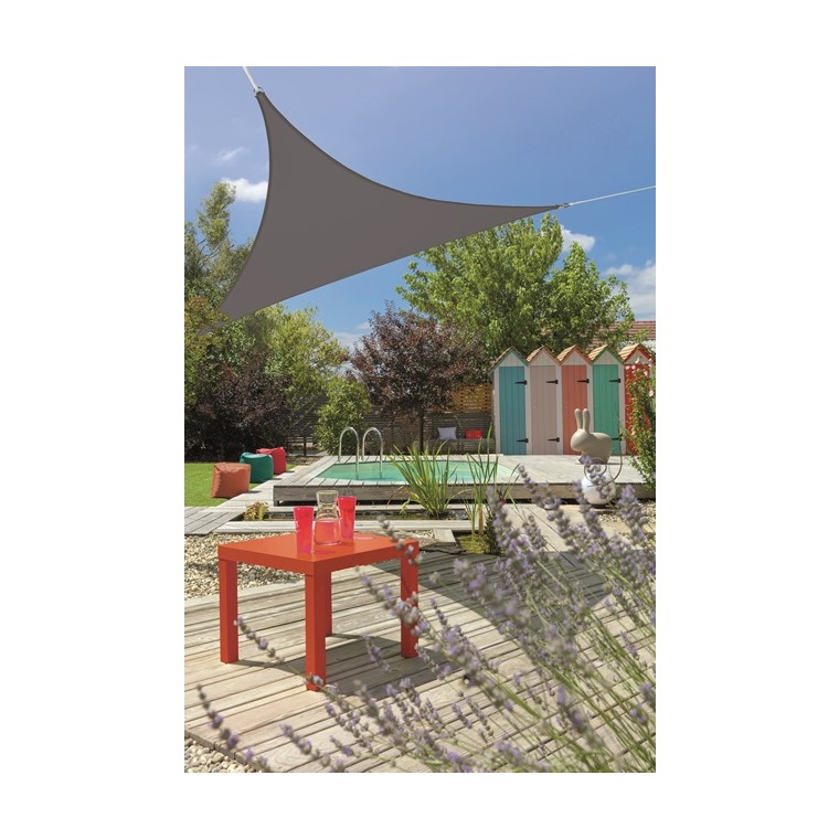 Voile d'ombrage triangulaire extensible gris 3,6 m 700545