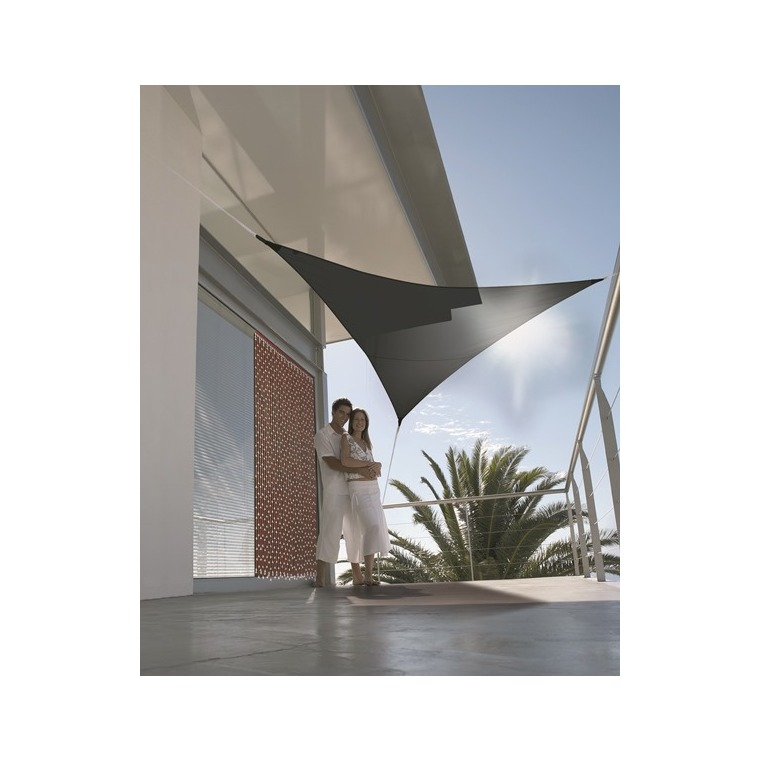 Voile d'ombrage triangulaire gris 3 m 700548