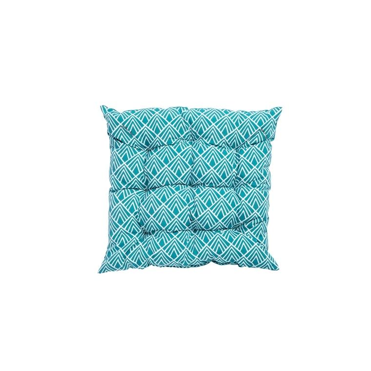 Coussin d'assise matelassé déco carré bleu Danemark 46 x 46 x 6 cm 700556