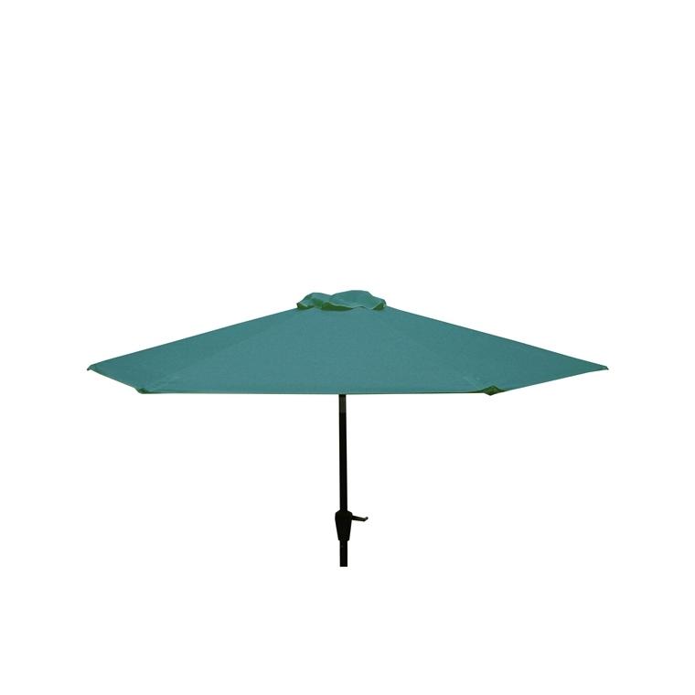 Parasol rond à manivelle uni bleu Ø 250 x h 200 cm 700582