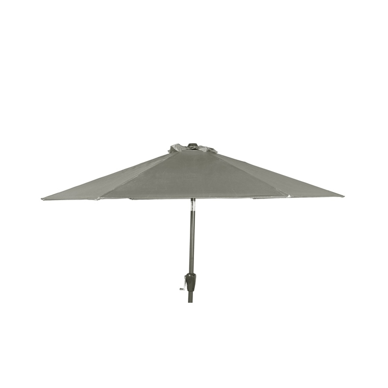Parasol rond à manivelle uni gris Ø 250 x h 200 cm 700609