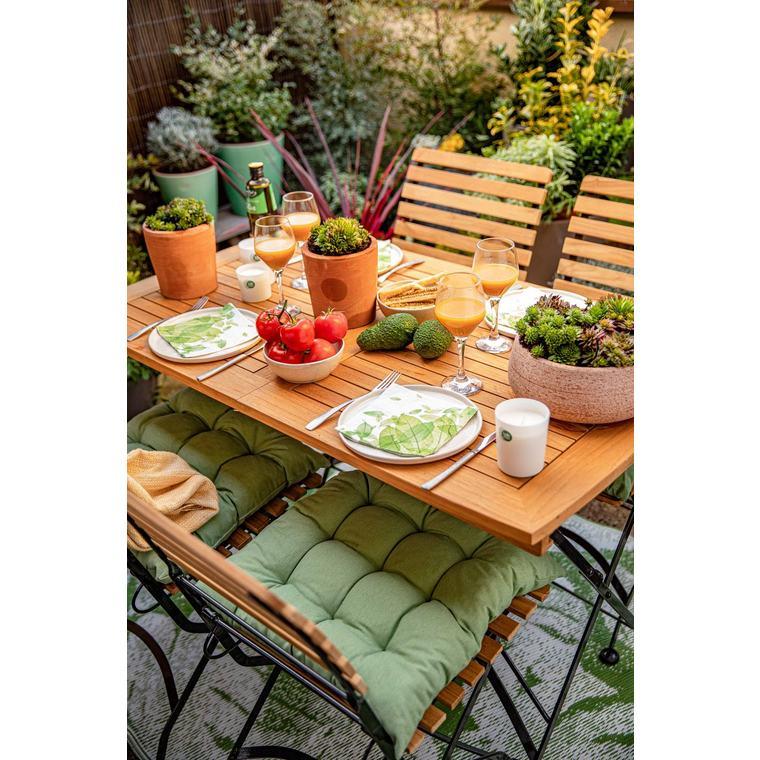 Coussin d'assise matelassé carré vert céladon 46 x 46 x 6 cm 700612