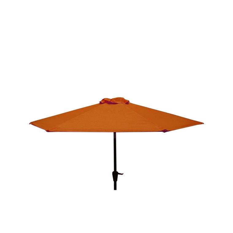 Parasol rond à manivelle uni rouge Ø 250 x h 200 cm 700620