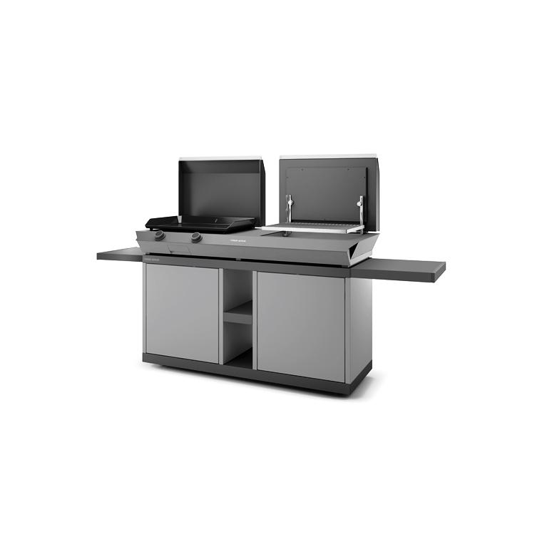Table roulante fermée pour combi en acier noir et gris 223 x 60 x 99 cm 700694