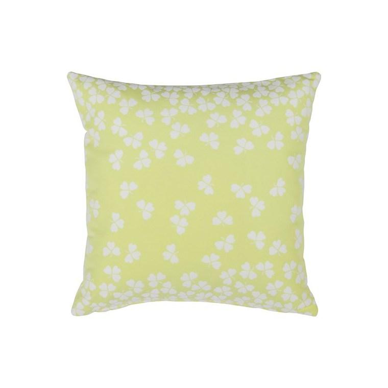 Coussin carré trèfle jaune citron givré 44 x 30 cm 702361