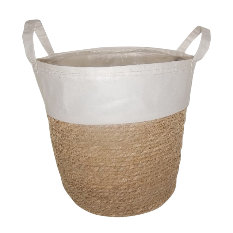 Cache pot à anses bi matière vannerie & tissu blanc 25x23x23,5 cm 705113