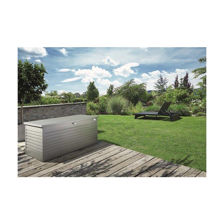 Coffre de jardin taille 200 gris quartz 201x79x83 cm 707646