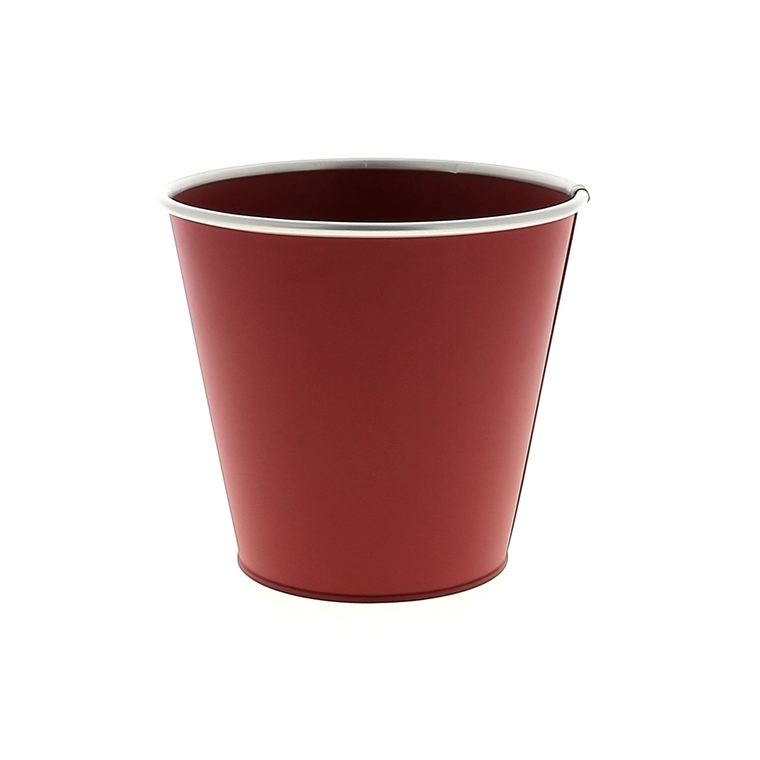 Cache pot Zinc rouge mat cercle Ø 16,7 x H 15,2 cm 707796