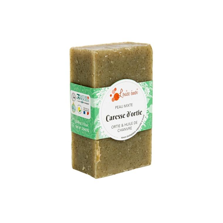 """Savon solide """"Caresse d'ortie"""" huile de chanvre et ortie sans huile essentielle - 100g 716047"""