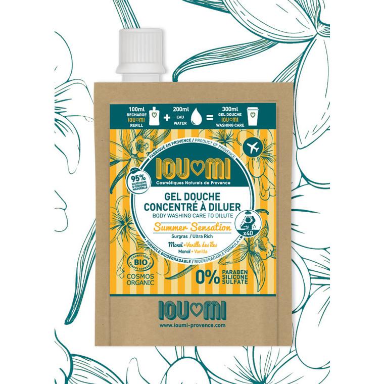Recharge pour gel douche concentré à diluer vanille des îles et huile de monoï - 100ml 716119