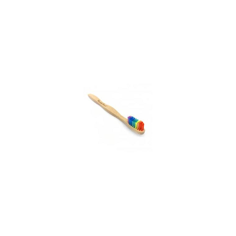 Brosse à dents pour adulte en bambou souple coloris arc-en-ciel 716281