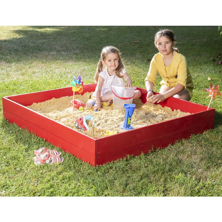 Bac à sable Loeva en bois 120x120x20 cm 716416