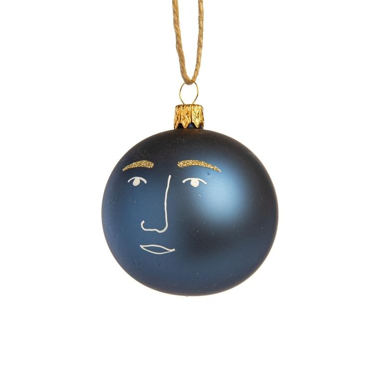 Boule décorative graphique bleue en verre Ø7 cm 720942