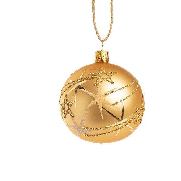 Boule décorative graphique dorée en verre Ø7 cm 720943