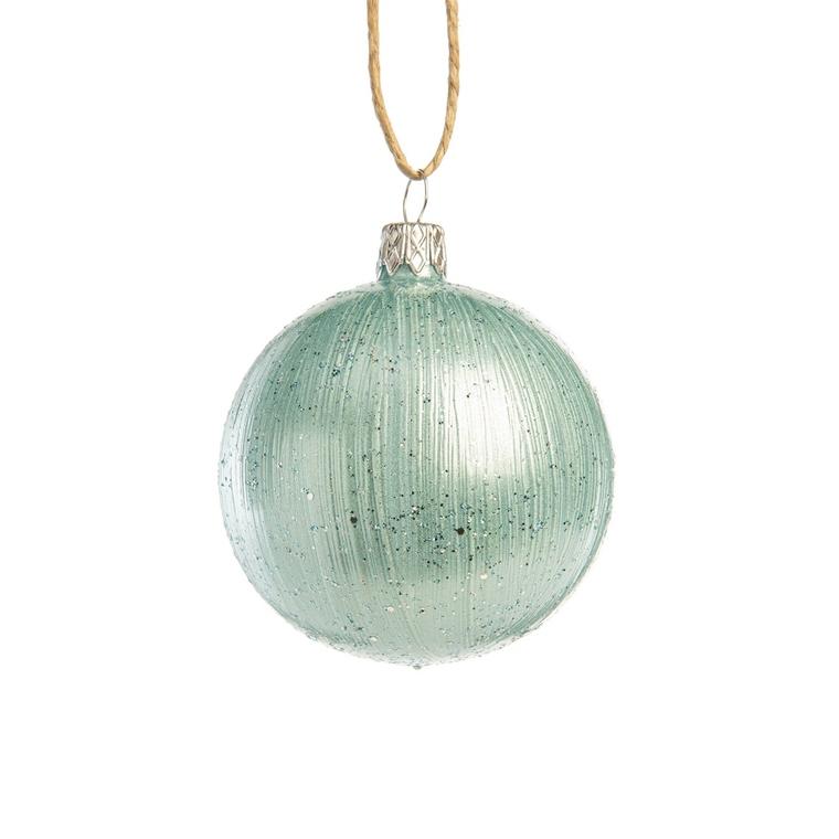 Boule décorative nordique bleu en verre Ø7 cm 720975