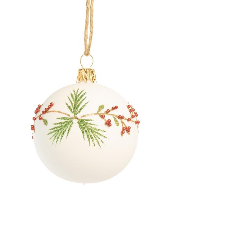 Boule décorative tradi blanche en verre Ø7 cm 721046
