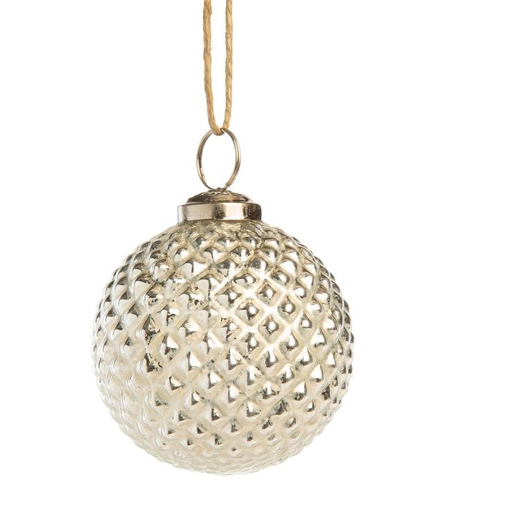Boule nordique blanc et argent en verre et métal Ø7,5 cm 721737