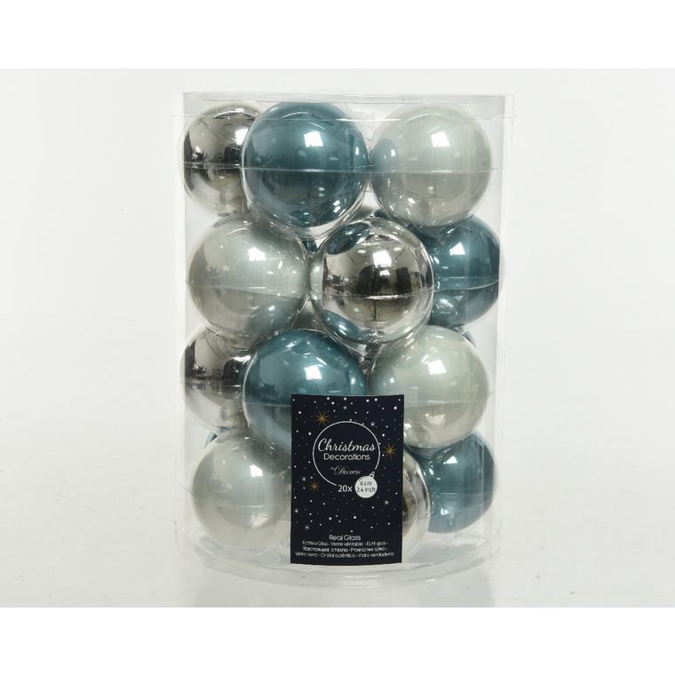 Boite de 20 boules en verre uni bleu brillant et mat Ø6 cm 723448