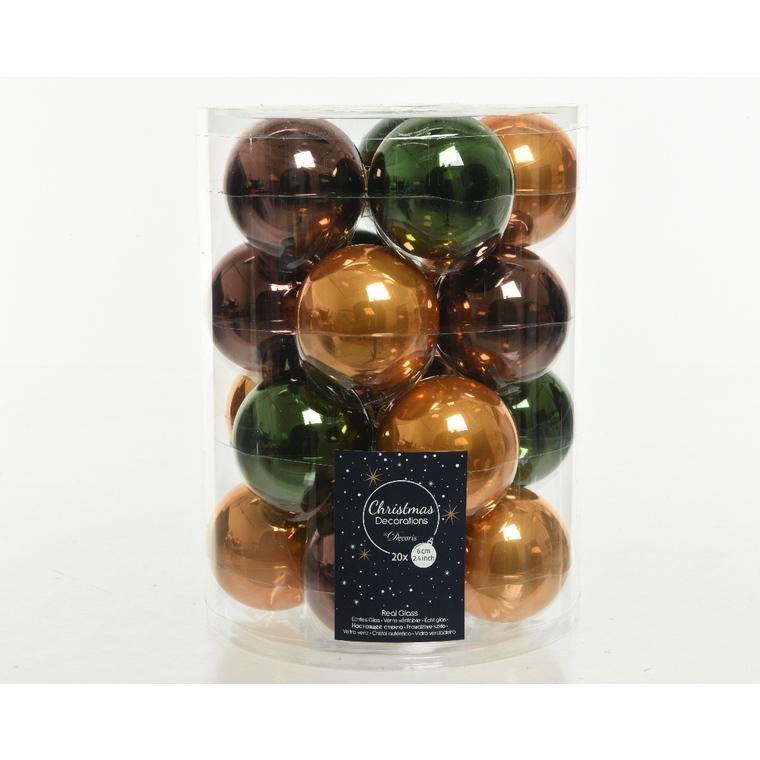 Boite de 20 boules en verre  uni multicolore brillant et mat Ø6 cm 723577