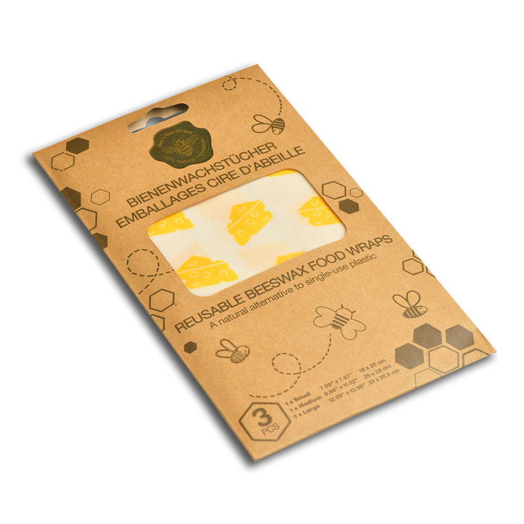 Ensemble de 3 feuilles d'emballage alimentaire réutilisables jaunes 697157