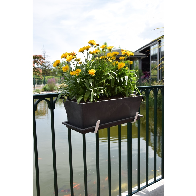 Support de jardinière universel large en métal blanc 35 cm 784263